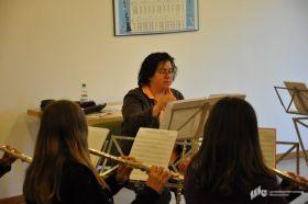 Martina Krüger in der Flötenregisterprobe