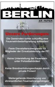 """Der Landesvorstand fordert für die Nds. Feuerwehren das """"Berliner Papier"""""""