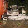 Wohnwagen durch Feuer zerstört